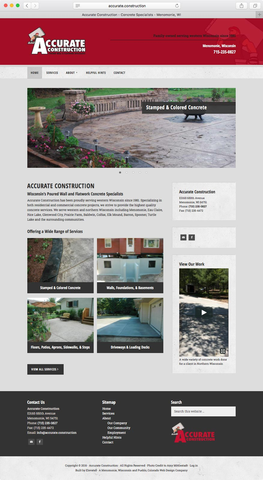 Web Design for Accurate Construction