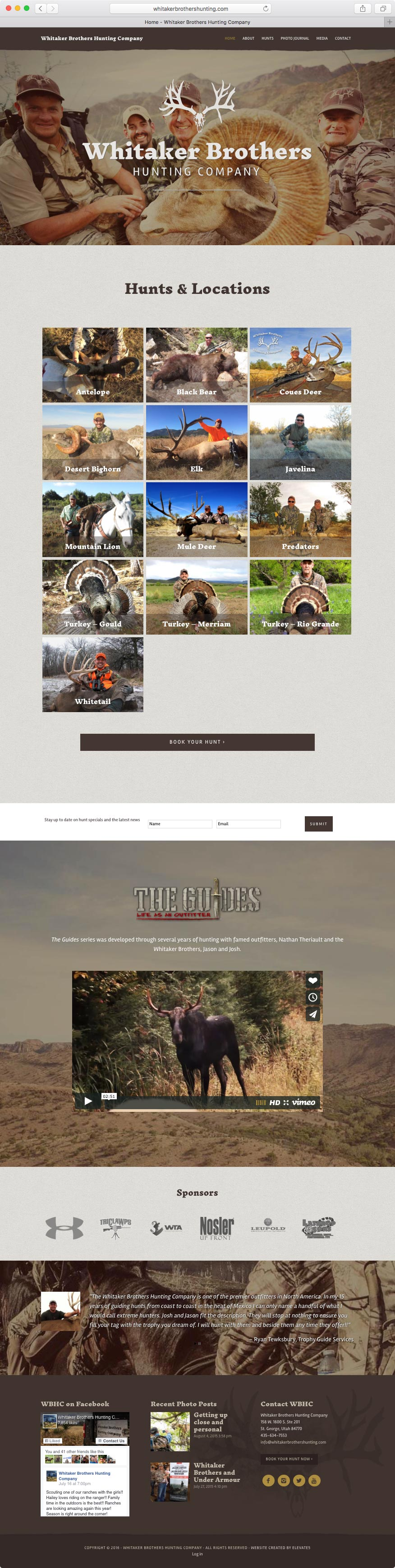 Web Design for Whitaker Brothers Hunting Company